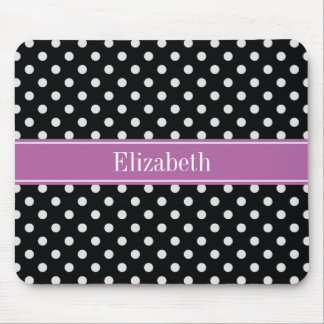 Black White Polka Dots Orchid Purple Name Monogram Mouse Pad