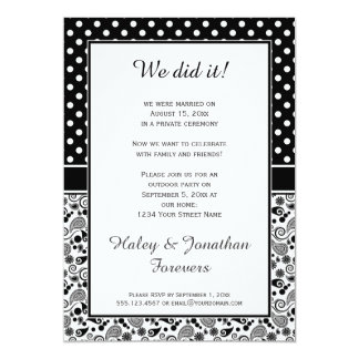 Black White Polka Dots over Paisley Reception Only Card
