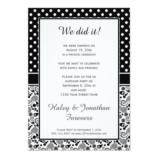 Black White Polka Dots over Paisley Reception Only Invitation