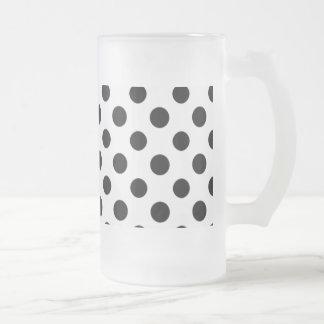 Black White Polka Dots Pattern Frosted Glass Beer Mug