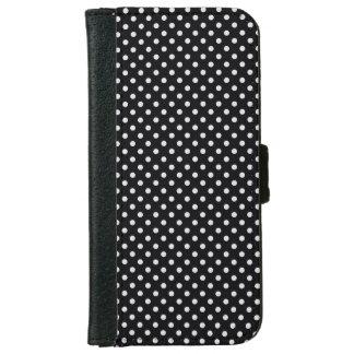 Black White Polka Dots Pattern iPhone 6 Wallet Case