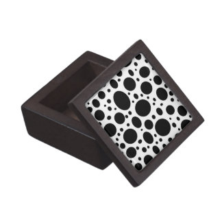 Black White Polka Dots Pattern - Premium Gift Box