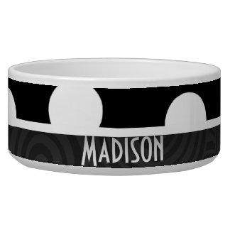 Black & White Polka Dots Dog Food Bowl