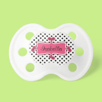 Black White Polka Dots Pink Baby Girl Pacifier