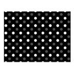 Black white polka dots postcard