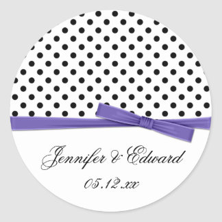 Black White Polka Dots Purple Save The Date Classic Round Sticker