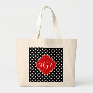 Black White Polka Dots Red Quatrefoil 3 Monogram Bags