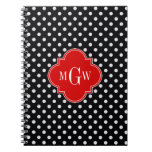 Black White Polka Dots Red Quatrefoil 3 Monogram Spiral Notebook