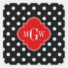 Black White Polka Dots Red Quatrefoil 3 Monogram Square Sticker