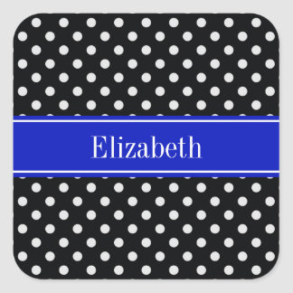 Black White Polka Dots Royal Blue Name Monogram Square Sticker