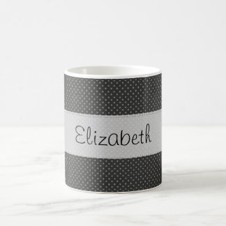 Black White Polka Dots Stitched Vellum Coffee Mug