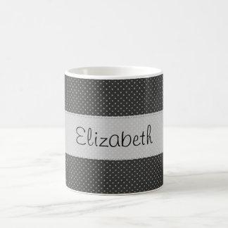 Black White Polka Dots Stitched Vellum Classic White Coffee Mug