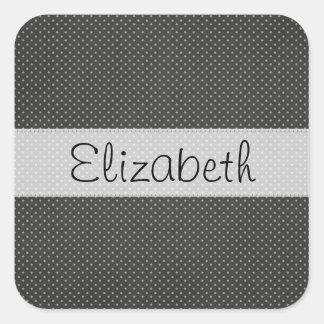 Black White Polka Dots Stitched Vellum Square Stickers