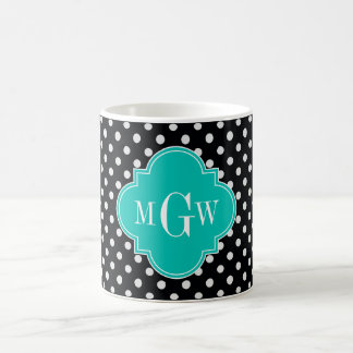 Black White Polka Dots Teal Quatrefoil 3 Monogram Coffee Mug