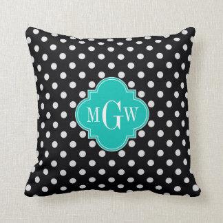 Black White Polka Dots Teal Quatrefoil 3 Monogram Throw Pillow