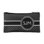 Black White Polka Dots with Monogram Cosmetic Bag at Zazzle