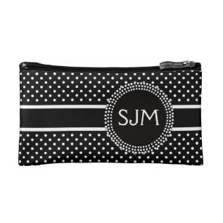 Black White Polka Dots With Monogram Cosmetic Bag at Zazzle