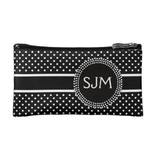 Black White Polka Dots with Monogram Cosmetic Bag