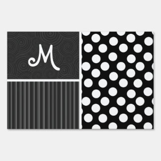 Black & White Polka Dots Signs
