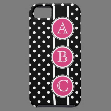 Black White Polkadots Hot Pink Dot Initials iPhone 5 Cases