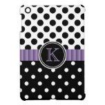 Black White Polkadots Purple Ribbon Monogram iPad Mini Cases