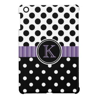 Black White Polkadots Purple Ribbon Monogram iPad Mini Cover