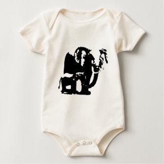 Black White Pop Art Baby & Mom Elephants Baby Bodysuit