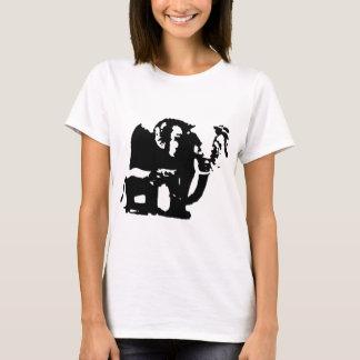 Black White Pop Art Baby & Mom Elephants T-Shirt