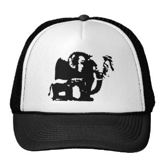 Black White Pop Art Baby & Mom Elephants Trucker Hat