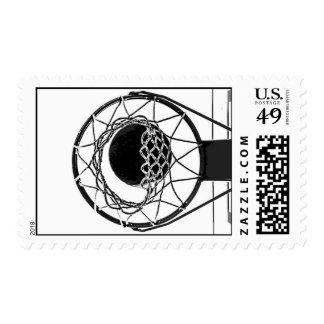 Black & White Pop Art Basketball Artwork Postage Stamp