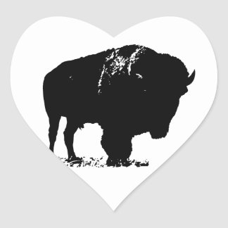 Black & White Pop Art Bison Buffalo Heart Sticker