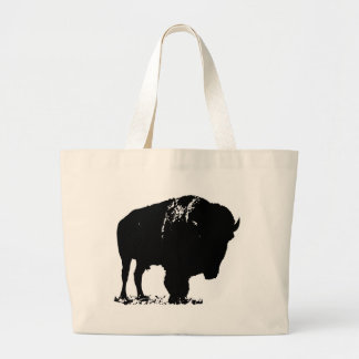 Black & White Pop Art Bison Buffalo Large Tote Bag