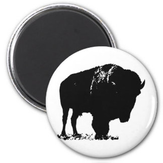 Black & White Pop Art Bison Buffalo Magnet