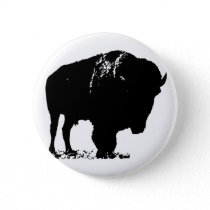 Black & White Pop Art Bison Buffalo Pinback Button