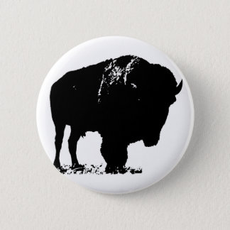Black & White Pop Art Bison Buffalo Pinback Button