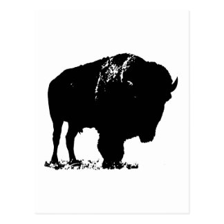 Black & White Pop Art Bison Buffalo Postcard