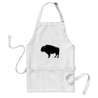 Black & White Pop Art Buffalo Bison Adult Apron