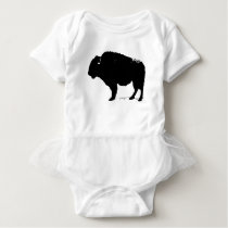 Black & White Pop Art Buffalo Bison Baby Bodysuit