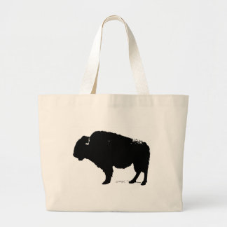 Black & White Pop Art Buffalo Bison Large Tote Bag