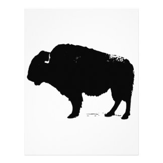 Black & White Pop Art Buffalo Bison Letterhead