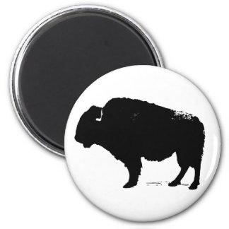 Black & White Pop Art Buffalo Bison Magnet