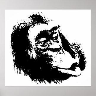 Black White Pop Art Chimpanzee Poster