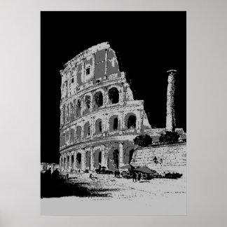 Black White Pop Art Colosseum Poster
