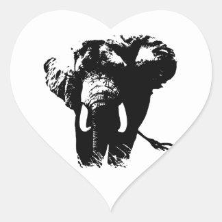 Black & White Pop Art Elephant Heart Sticker