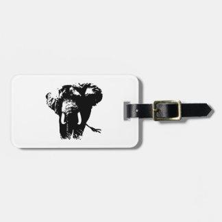 Black & White Pop Art Elephant Luggage Tag
