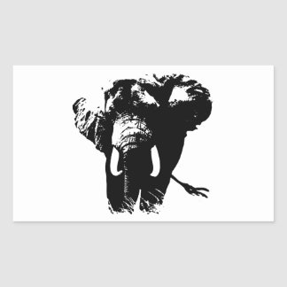 Black & White Pop Art Elephant Rectangular Sticker