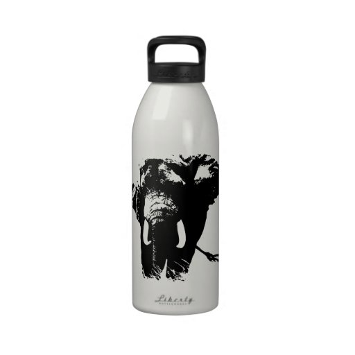 Black & White Pop Art Elephant Water Bottles