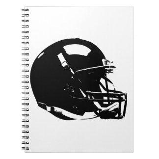 Black White Pop Art Football Helmet Notebook