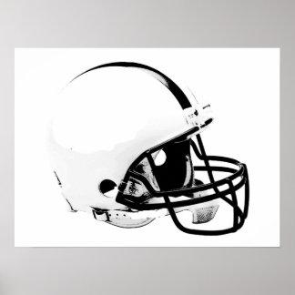 Black White Pop Art Football Helmet Poster