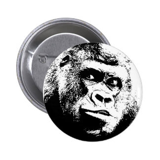 Black White Pop Art Gorilla Button